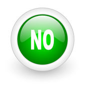 No green circle glossy web icon on white background — ストック写真