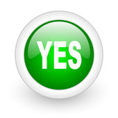 Yes green circle glossy web icon on white background — Stock Photo