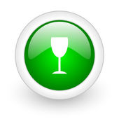 Glass green circle glossy web icon on white background — Stock Photo