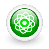 Atom green circle glossy web icon on white background — Photo