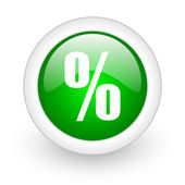 Percent green circle glossy web icon on white background — Photo
