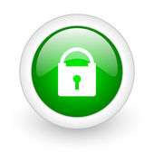Protect green circle glossy web icon on white background — Stockfoto