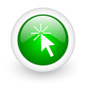 Click here green circle glossy web icon on white background — Stock Photo