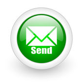 Send green circle glossy web icon on white background — Stock Photo
