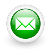 Mail green circle glossy web icon on white background — Stock Photo