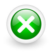 Cancel green circle glossy web icon on white background — Stock Photo
