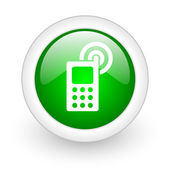 Cellphone green circle glossy web icon on white background — Stock Photo