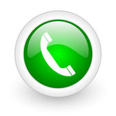 Phone green circle glossy web icon on white background — Stock Photo