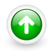 在白色背景上的绿色圆圈光泽 web 图标向上箭头 — 图库照片