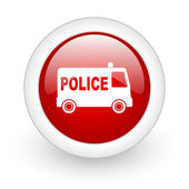 Police red circle glossy web icon on white background — Stock Photo