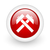 Mining red circle glossy web icon on white background — Stock Photo