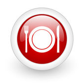 Food red circle glossy web icon on white background — Stok fotoğraf