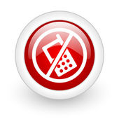 No phones red circle glossy web icon on white background — Stock Photo