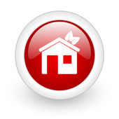 Home red circle glossy web icon on white background — Stock Photo