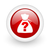 Riddle red circle glossy web icon on white background — Stock Photo