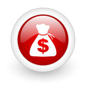 Money red circle glossy web icon on white background — Stock Photo
