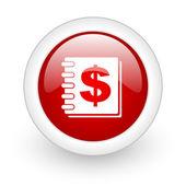 Money red circle glossy web icon on white background — Stock Photo