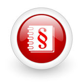 Law red circle glossy web icon on white background — Stock Photo