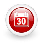 Icono del brillante web calendario círculo rojo sobre fondo blanco — Foto de Stock