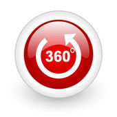 360 degrees panorama red circle glossy web icon on white background — Stock Photo