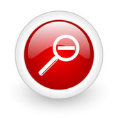 Magnification red circle glossy web icon on white background — Stock Photo
