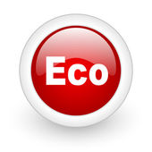 Eco red circle glossy web icon on white background — Stock Photo