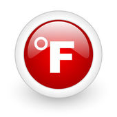 Fahrenheit red circle glossy web icon on white background — Stock Photo