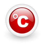 Celsius red circle glossy web icon on white background — Stock Photo