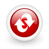 Rotate red circle glossy web icon on white background — Stock Photo