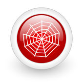 Spider web red circle glossy web icon on white background — Stock Photo