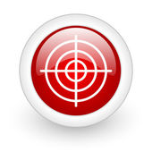 Target red circle glossy web icon on white background — Stock Photo