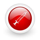 Syringe red circle glossy web icon on white background — Stock Photo