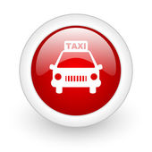 Taxi red circle glossy web icon on white background — Stock Photo