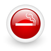 Smoking red circle glossy web icon on white background — Stok fotoğraf