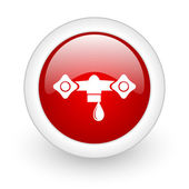 Water red circle glossy web icon on white background — Stock Photo
