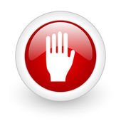 Stop red circle glossy web icon on white background — Stok fotoğraf