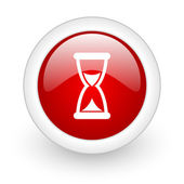 Time red circle glossy web icon on white background — Stock Photo