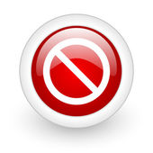 Access denied red circle glossy web icon on white background — Stock Photo