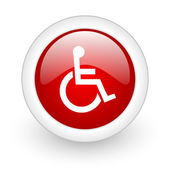 Accessibility red circle glossy web icon on white background — Stock Photo