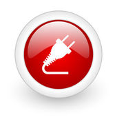 Plug red circle glossy web icon on white background — Stockfoto