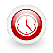 Clock red circle glossy web icon on white background — Stock Photo
