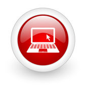 Notebook red circle glossy web icon on white background — Stock Photo