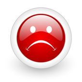 Cry red circle glossy web icon on white background — Stock Photo