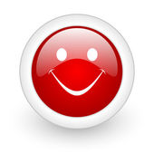 Smile red circle glossy web icon on white background — Stock Photo