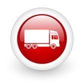 доставка красным кружком икона глянцевый web на белом фоне — Стоковое фото