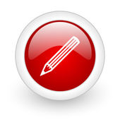 Pencil red circle glossy web icon on white background — Stock Photo