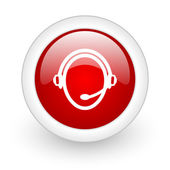 Customer service red circle glossy web icon on white background — Stock Photo