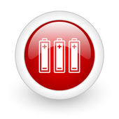 Batteries red circle glossy web icon on white background — Stock Photo