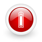Battery red circle glossy web icon on white background — Stock Photo