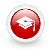 Afstuderen rode cirkel glanzend web pictogram op witte achtergrond — Stockfoto